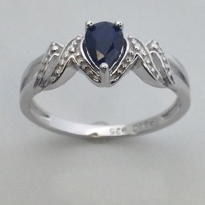"""Jewelry - Natural Sapphire """"MOM"""" Ring 925 Sterling Silver"""